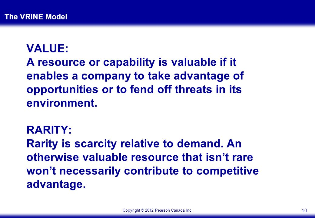 vrine model Vrio model valuable (vrio) first and foremost resources must be valuable  according to the rbv, resources are seen as valuable when they.