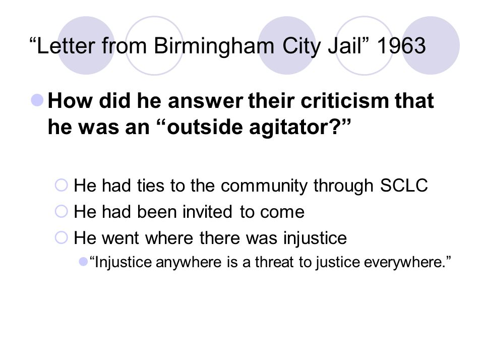 essay on mlk letter from birmingham jail A summary of birmingham in 's martin luther king, jr perfect for acing essays, tests during that time he composed his letter from a birmingham jail.