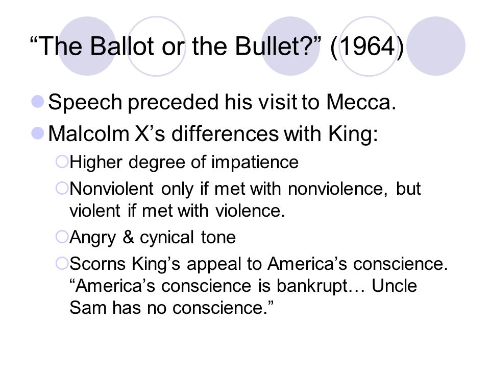 analysis malcolm x s ballot bullet speech The ballot or the bullet is the title of a public speech by human rights activist malcolm x in the speech, which was delivered on april 3, 1964, at cory methodist.