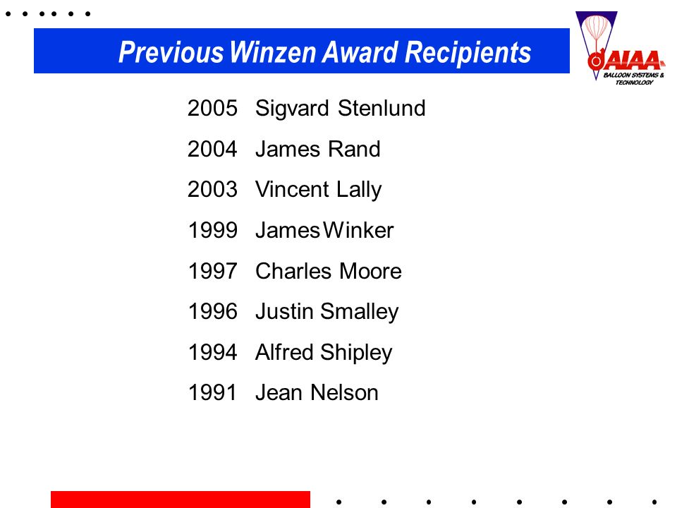 Previous Winzen Award Recipients