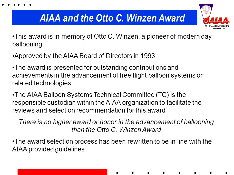 AIAA and the Otto C. Winzen Award