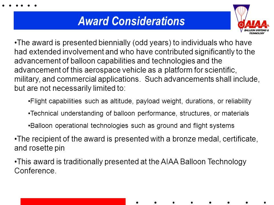 Award Considerations
