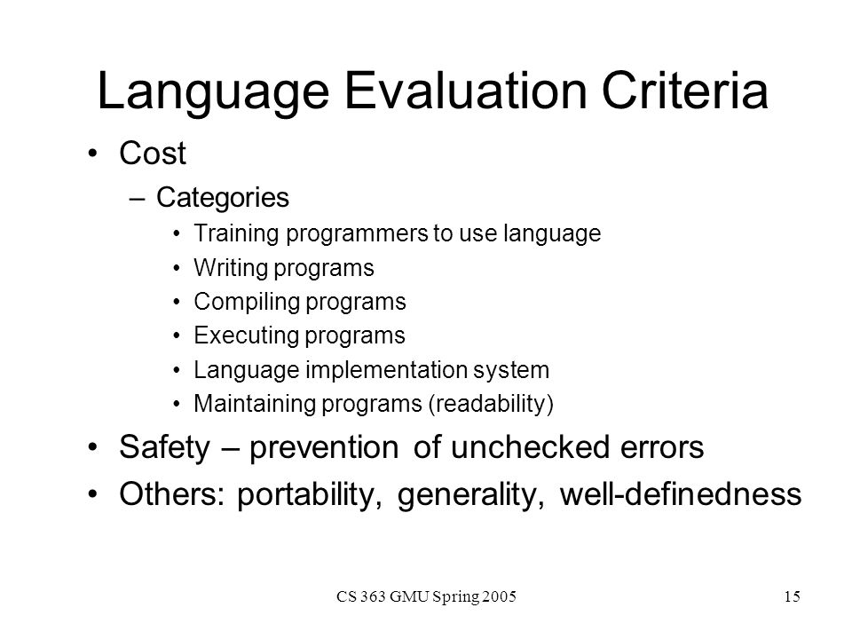Language Evaluation Criteria