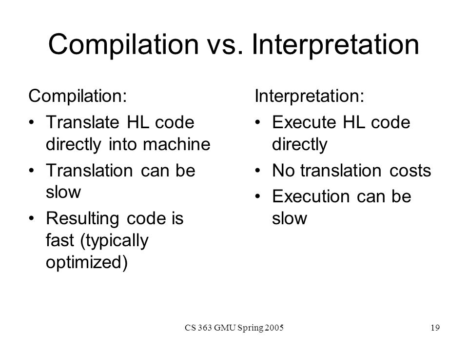 Compilation vs. Interpretation