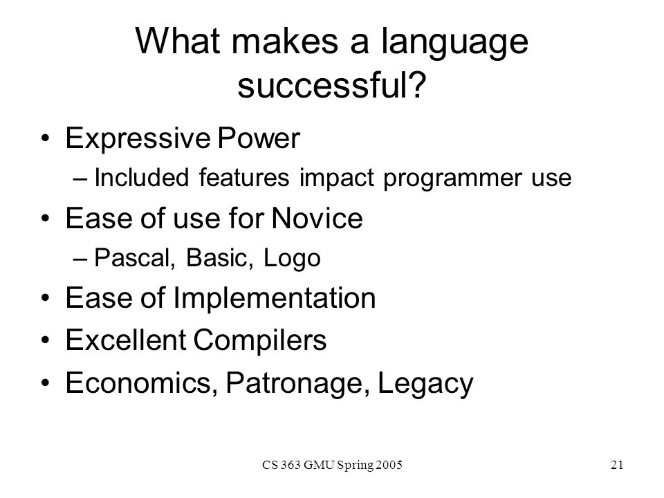 What makes a language successful