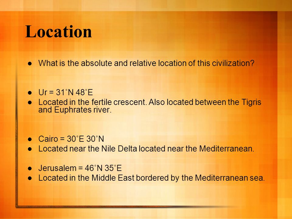 Five Themes Questions To Ask About A Culture Ppt Video Online - Jerusalem absolute location