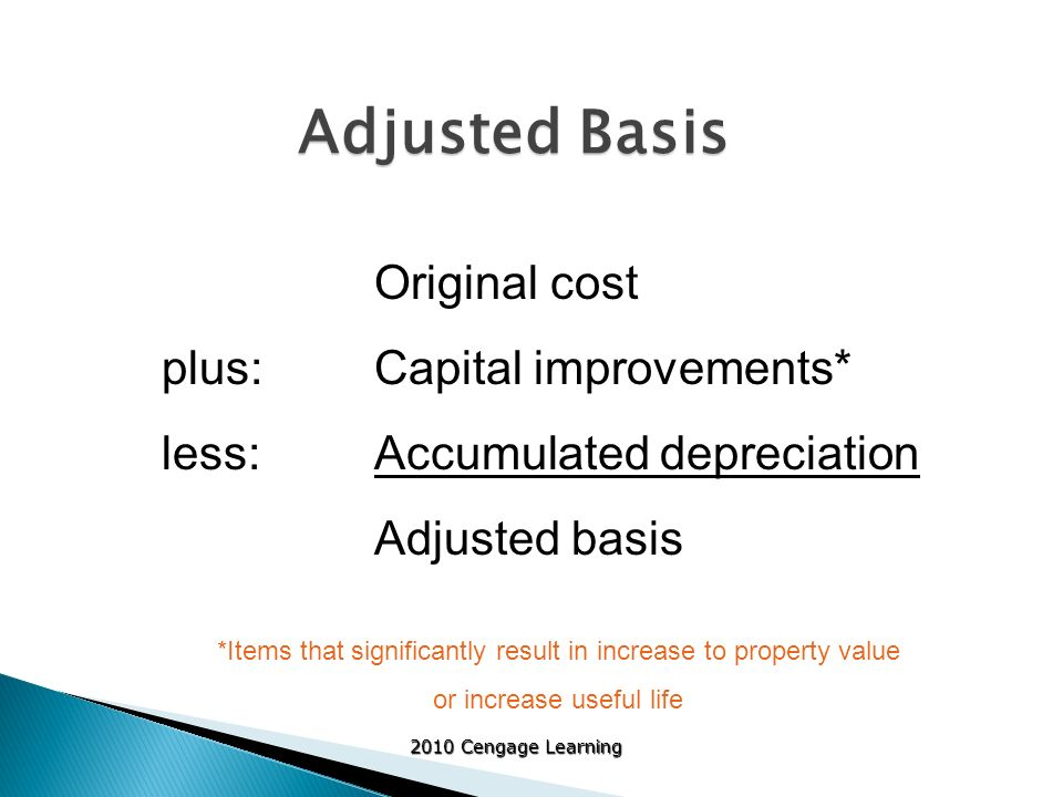 horse and depreciation adjusted basis Any amortization taken on the property any section 179 deduction claimed any special depreciation allowance taken on the property for business property you purchase during the year, the unadjusted basis is its cost minus these and other applicable adjustments if you trade property, your unadjusted basis in the property received is the cash paid plus the adjusted basis of the property.