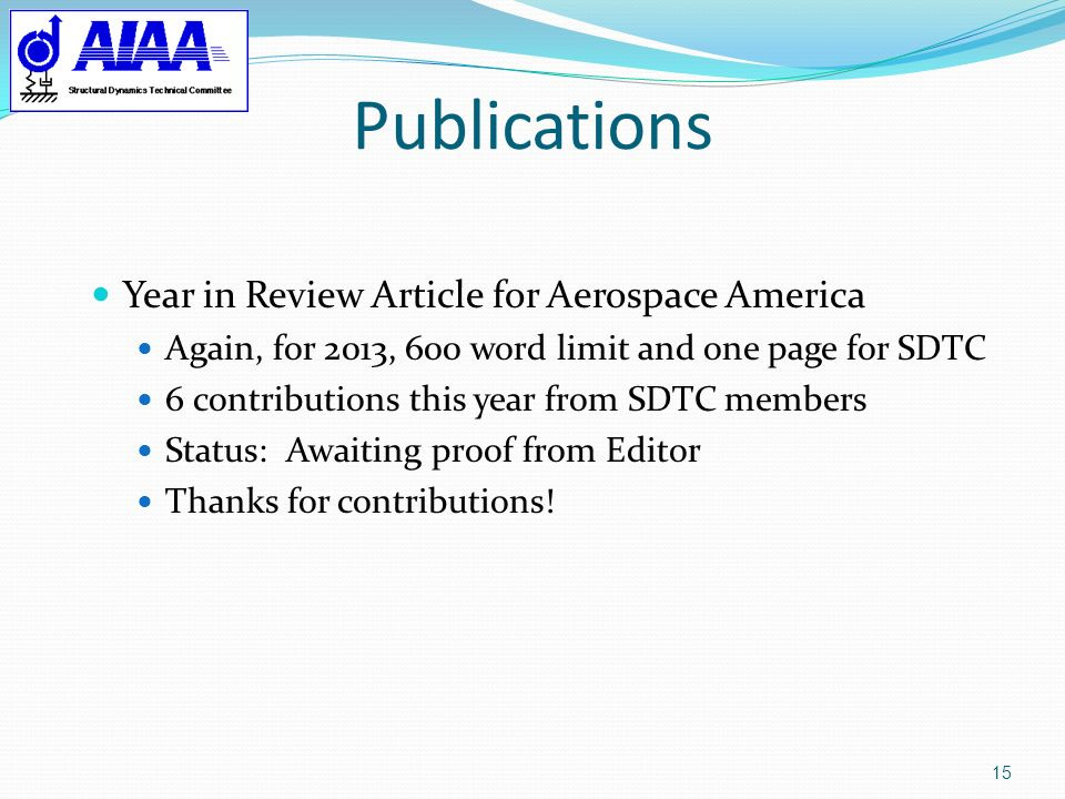 Publications Year in Review Article for Aerospace America