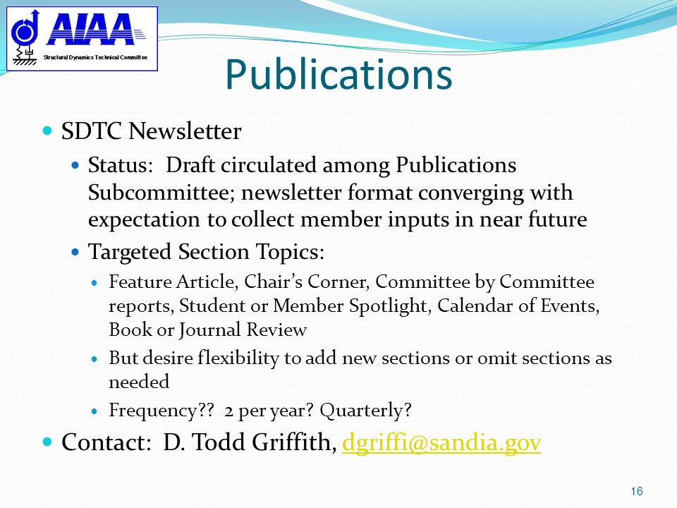 Publications SDTC Newsletter