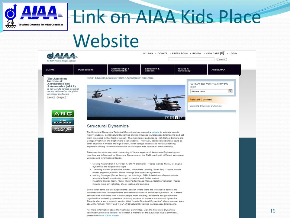 Link on AIAA Kids Place Website