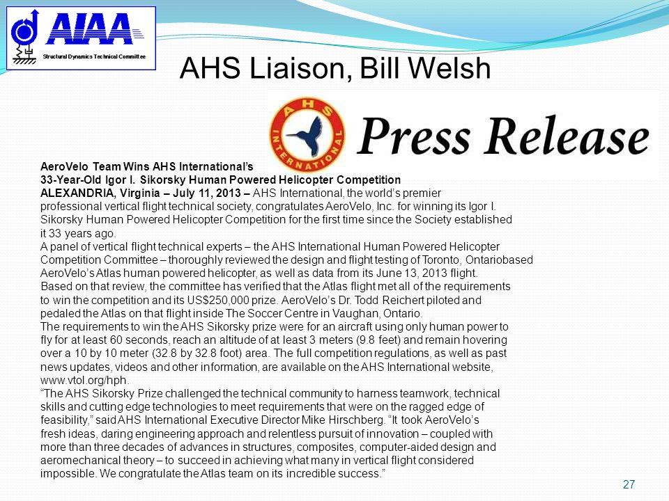 AHS Liaison, Bill Welsh AeroVelo Team Wins AHS International's