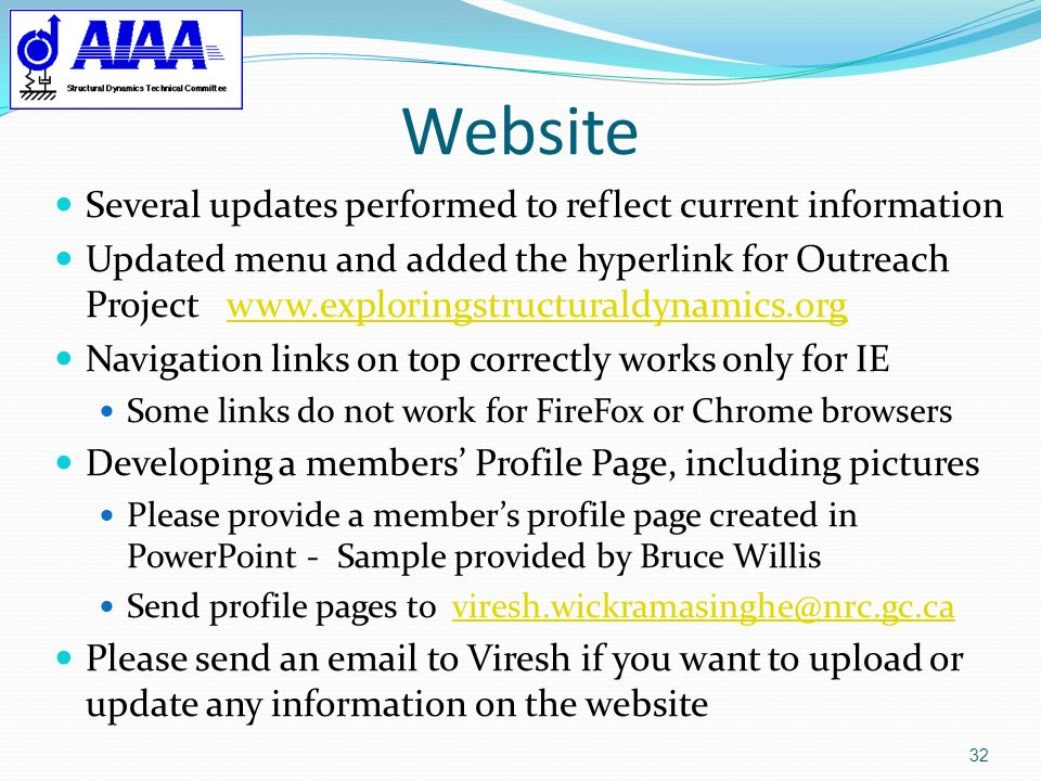 Website Several updates performed to reflect current information
