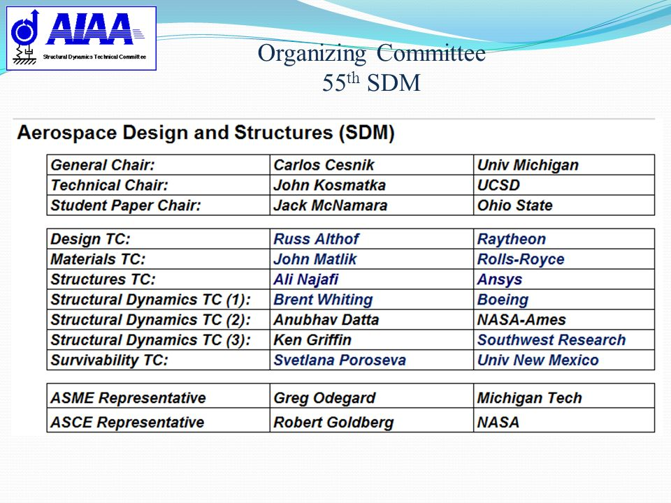 Organizing Committee 55th SDM