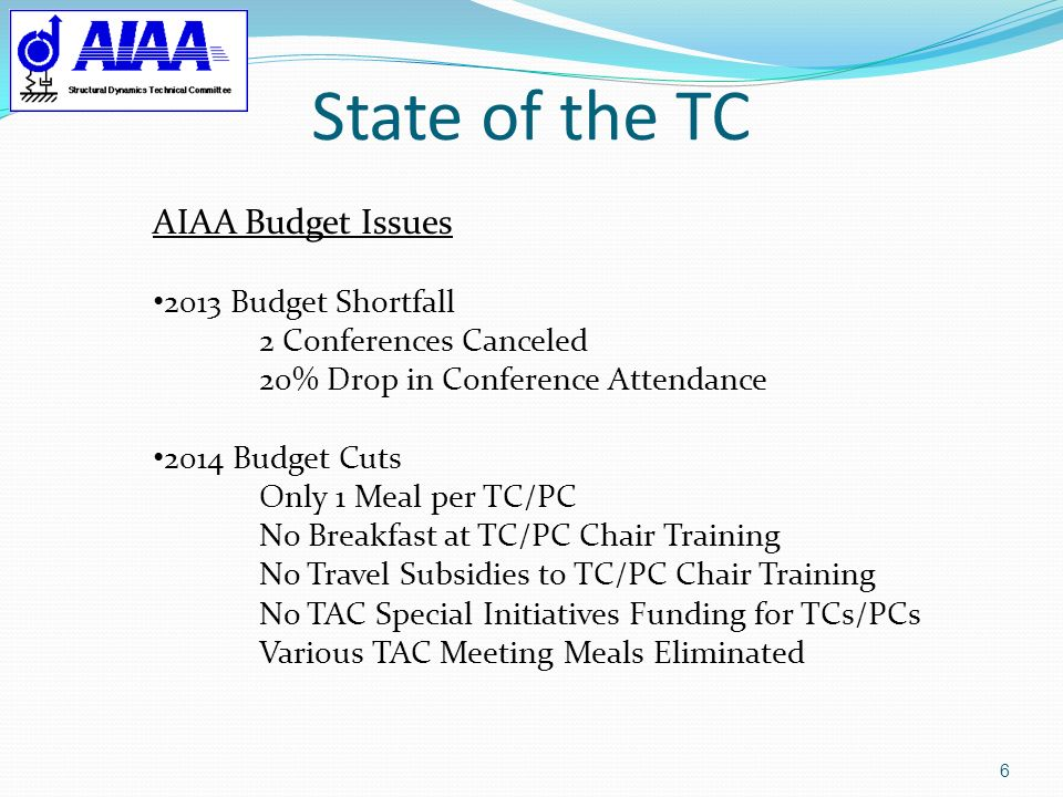 State of the TC AIAA Budget Issues