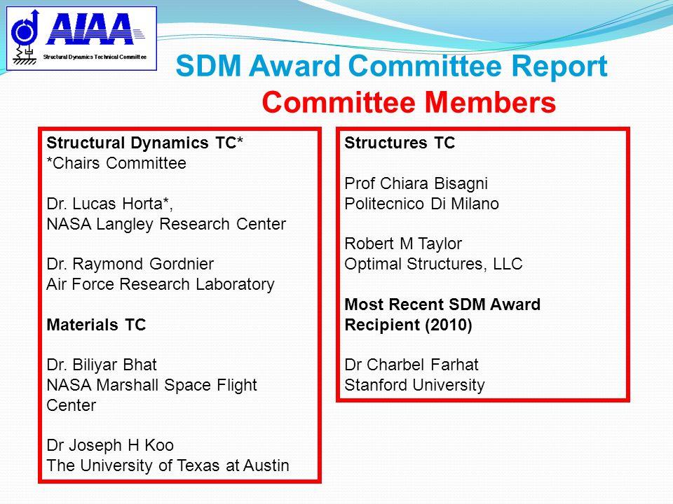 SDM Award Committee Report Committee Members