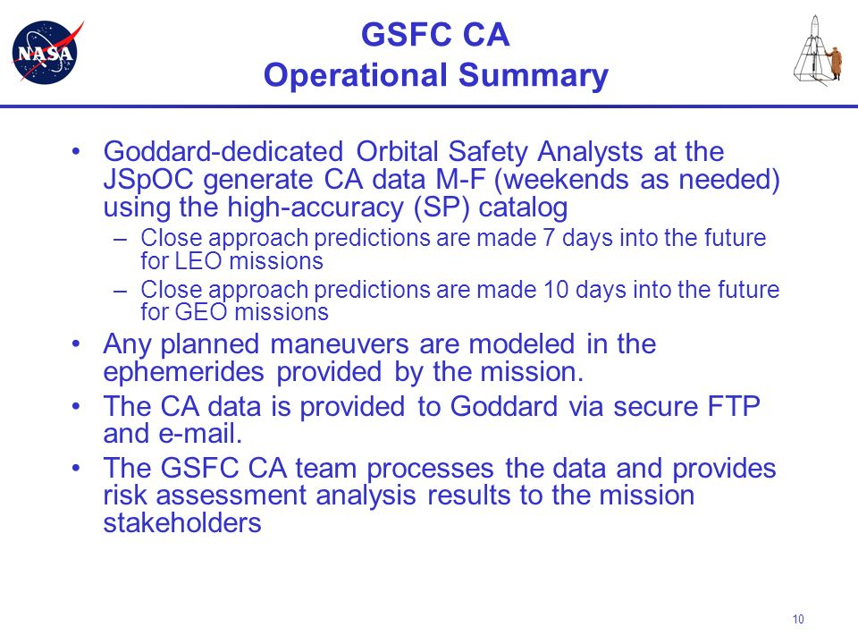 GSFC CA Operational Summary