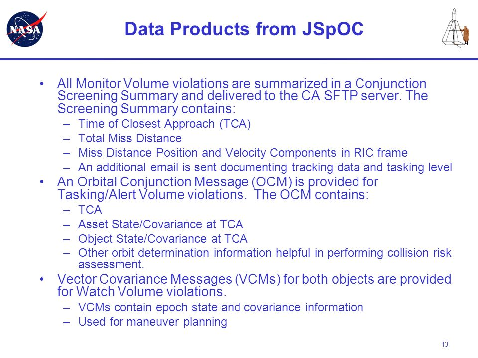 Data Products from JSpOC