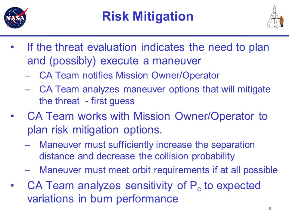 Risk Mitigation If the threat evaluation indicates the need to plan and (possibly) execute a maneuver.