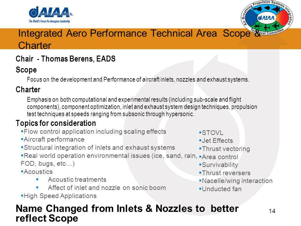 Integrated Aero Performance Technical Area Scope & Charter