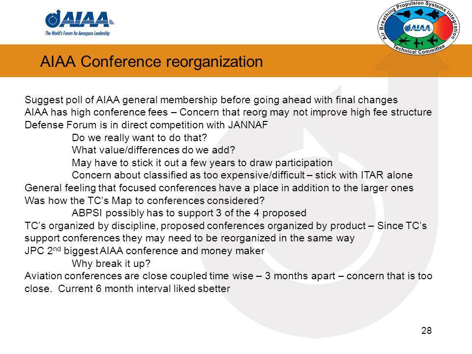 AIAA Conference reorganization