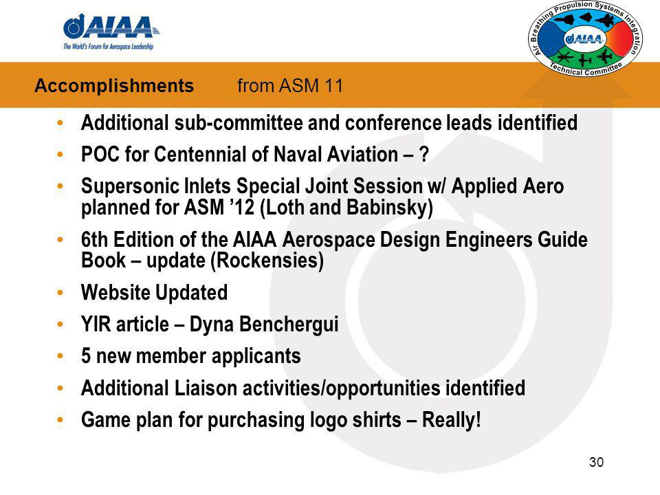 Accomplishments from ASM 11
