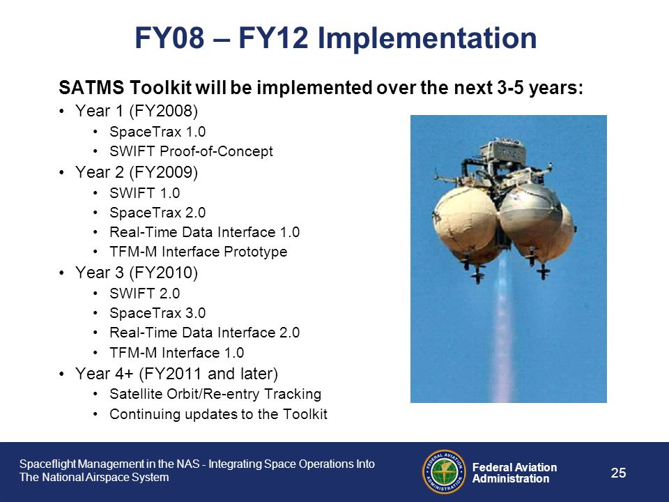 FY08 – FY12 Implementation SATMS Toolkit will be implemented over the next 3-5 years: Year 1 (FY2008)