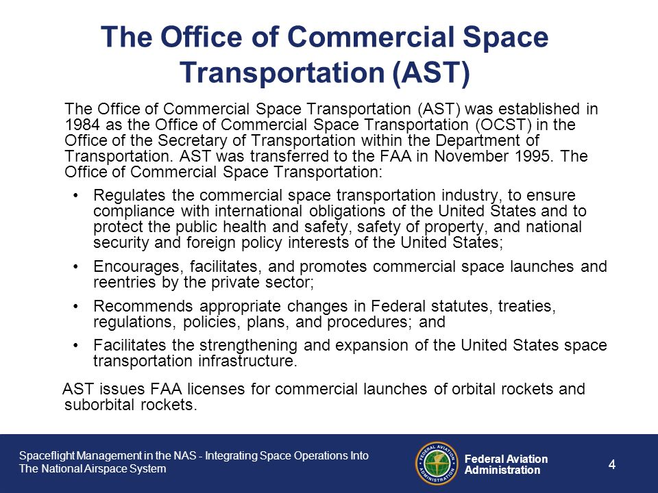 The Office of Commercial Space Transportation (AST)