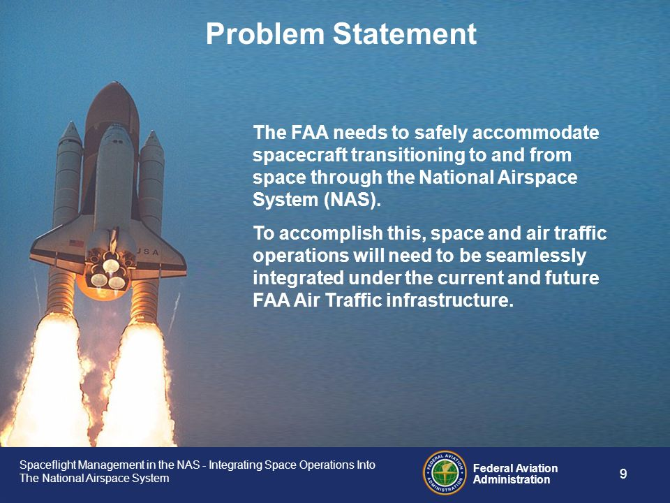 Problem Statement The FAA needs to safely accommodate spacecraft transitioning to and from space through the National Airspace System (NAS).
