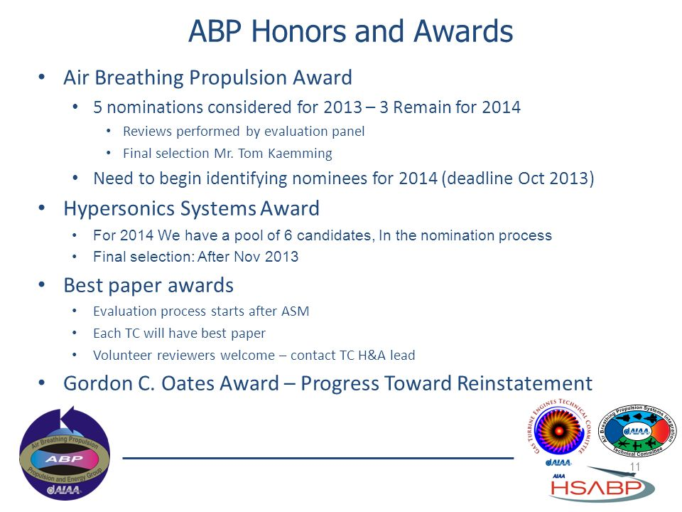 ABP Honors and Awards Air Breathing Propulsion Award