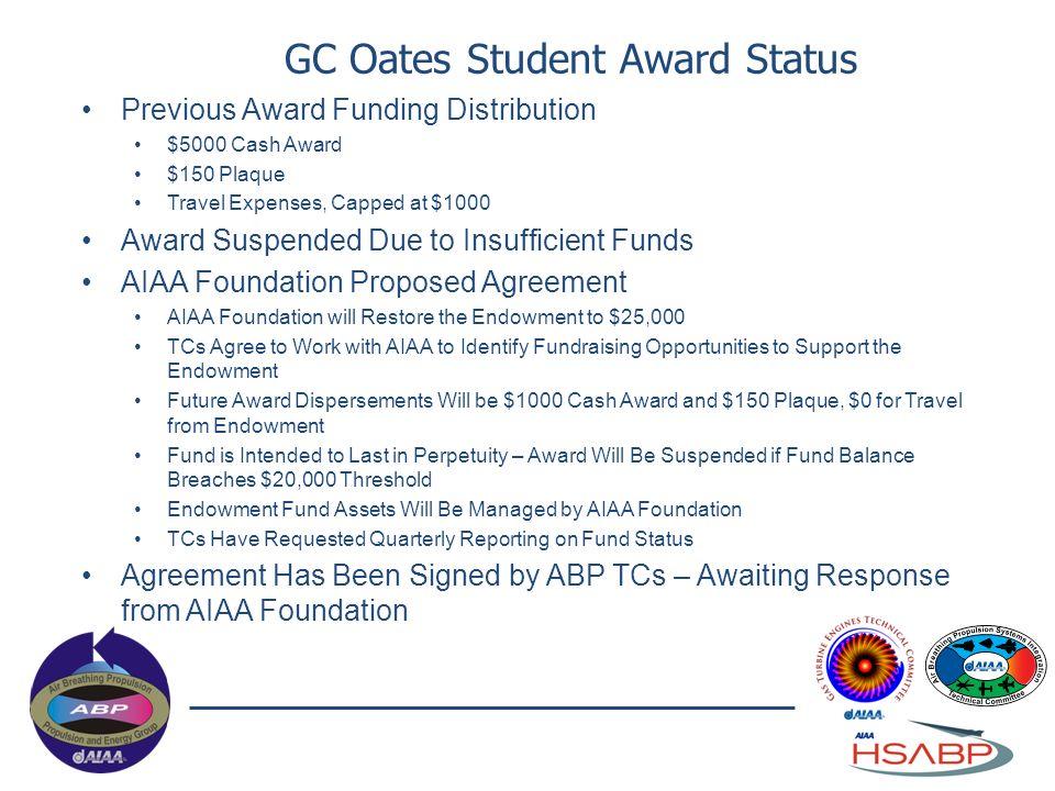 GC Oates Student Award Status