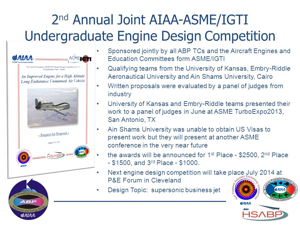 2nd Annual Joint AIAA-ASME/IGTI Undergraduate Engine Design Competition