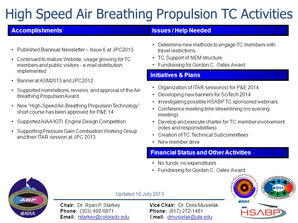 High Speed Air Breathing Propulsion TC Activities