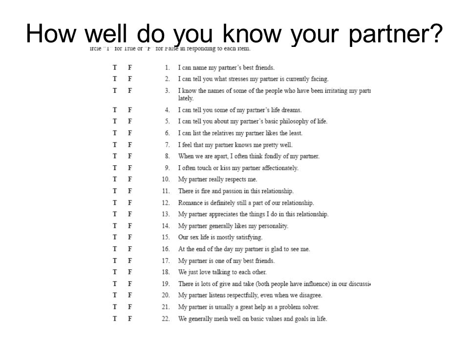 Quiz to see if you know your partner