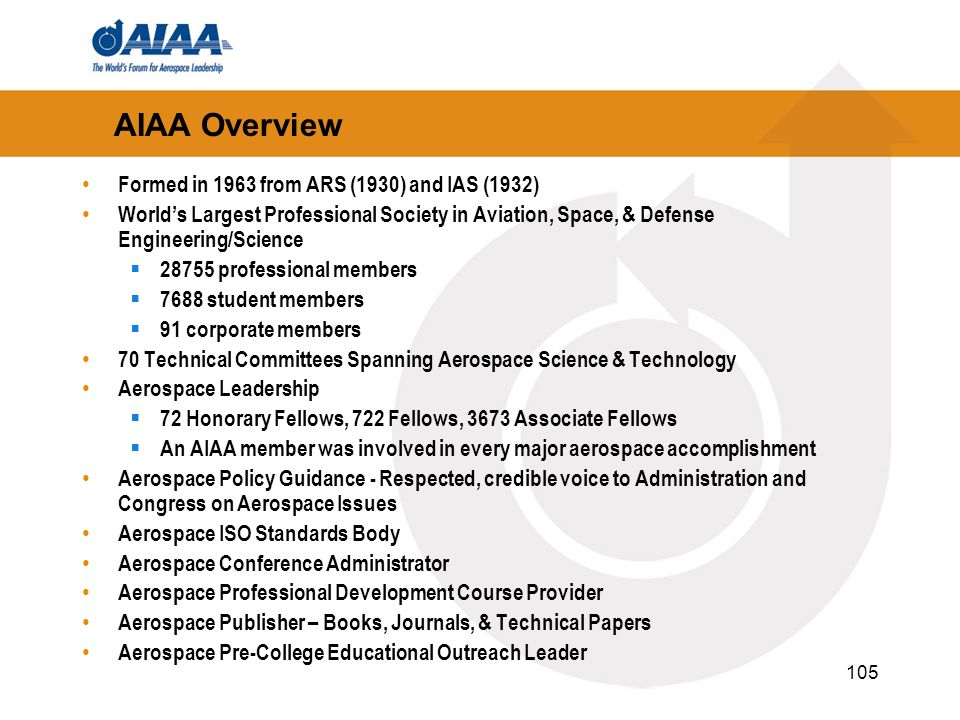 AIAA Overview Formed in 1963 from ARS (1930) and IAS (1932)