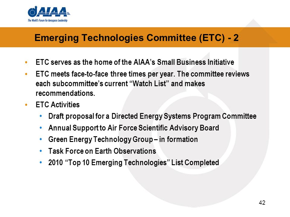Emerging Technologies Committee (ETC) - 2