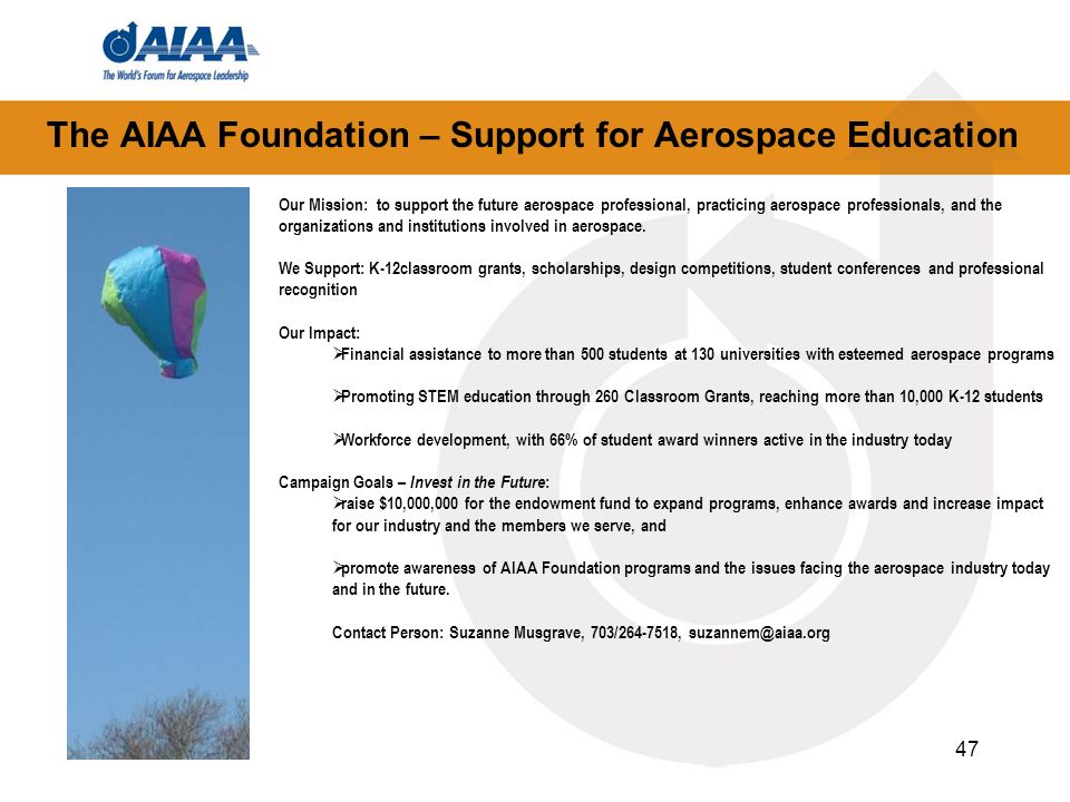 The AIAA Foundation – Support for Aerospace Education