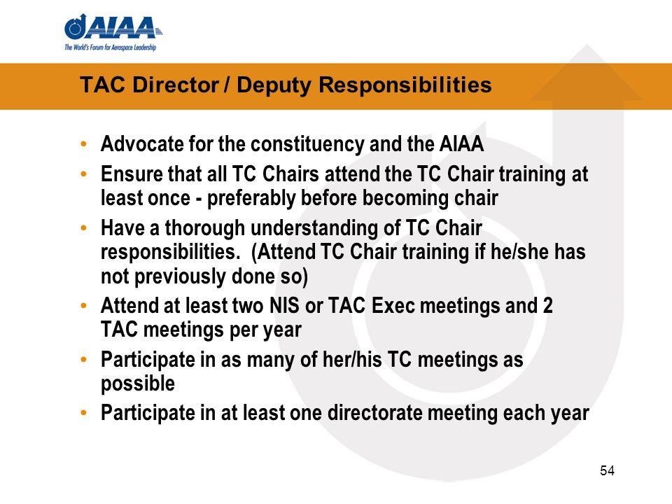 TAC Director / Deputy Responsibilities