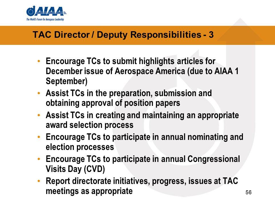 TAC Director / Deputy Responsibilities - 3
