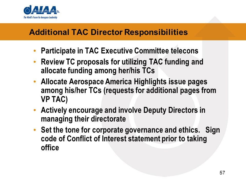 Additional TAC Director Responsibilities