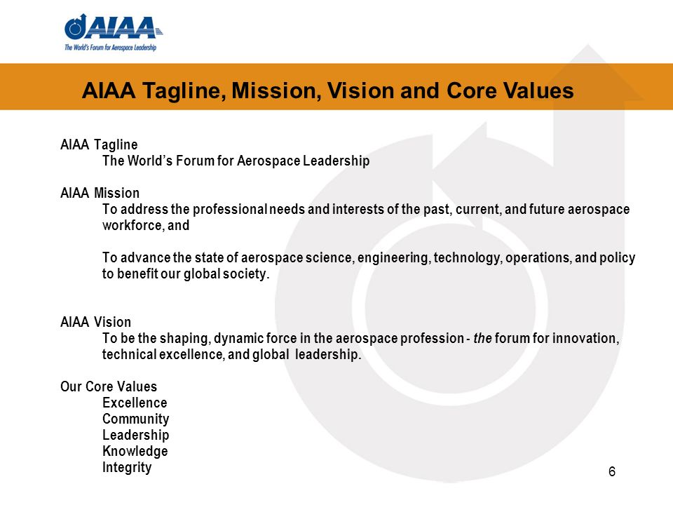 AIAA Tagline, Mission, Vision and Core Values