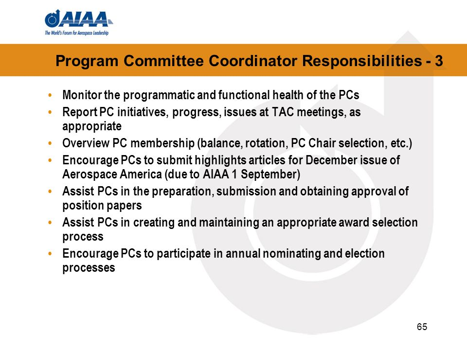 Program Committee Coordinator Responsibilities - 3