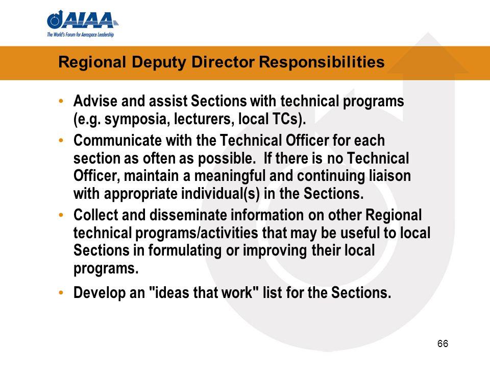 Regional Deputy Director Responsibilities