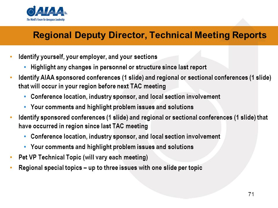 Regional Deputy Director, Technical Meeting Reports