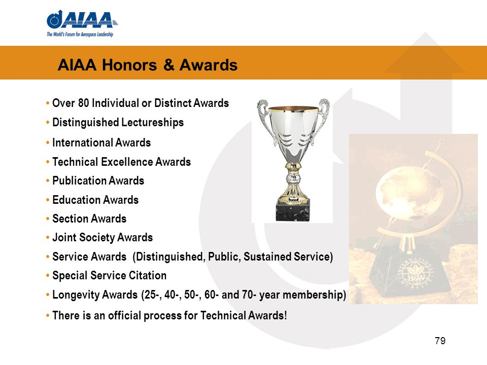 AIAA Honors & Awards Over 80 Individual or Distinct Awards