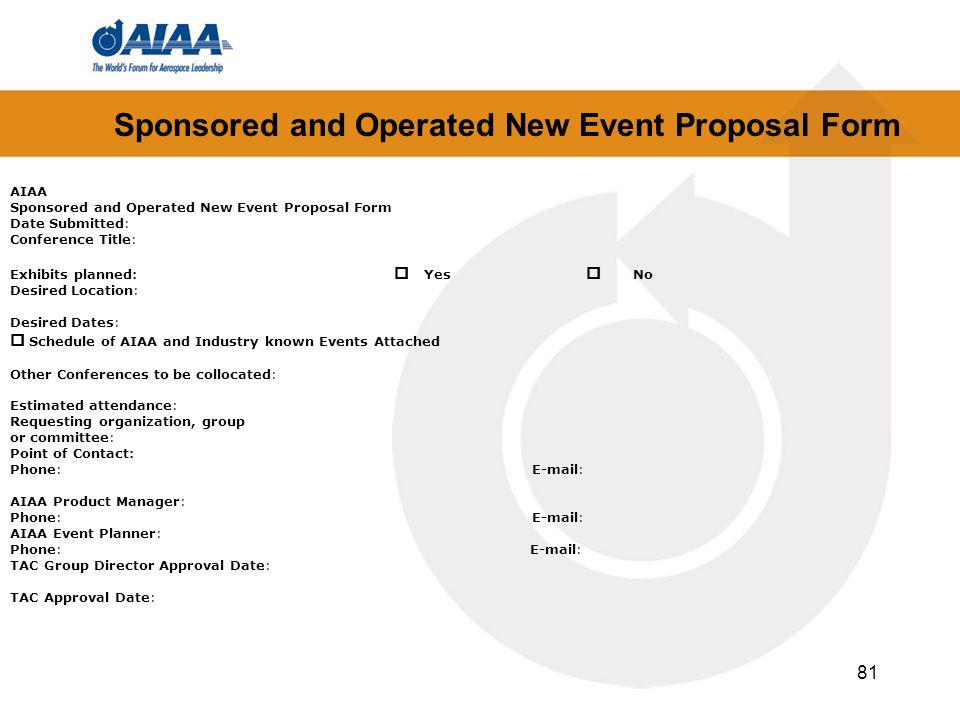 Sponsored and Operated New Event Proposal Form