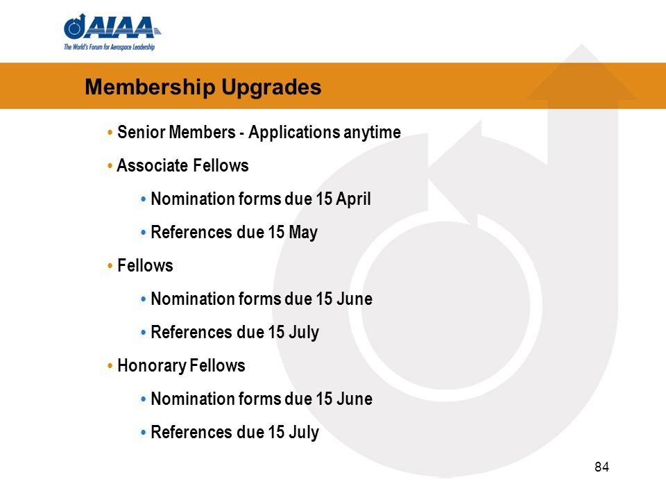 Membership Upgrades Senior Members - Applications anytime