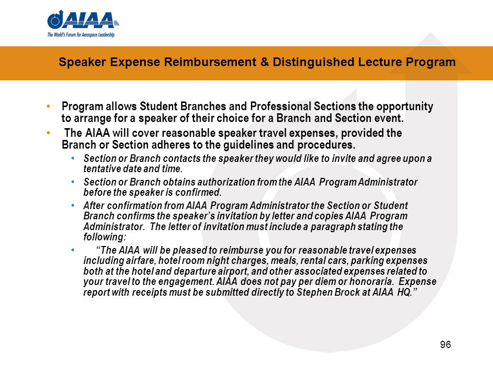 Speaker Expense Reimbursement & Distinguished Lecture Program