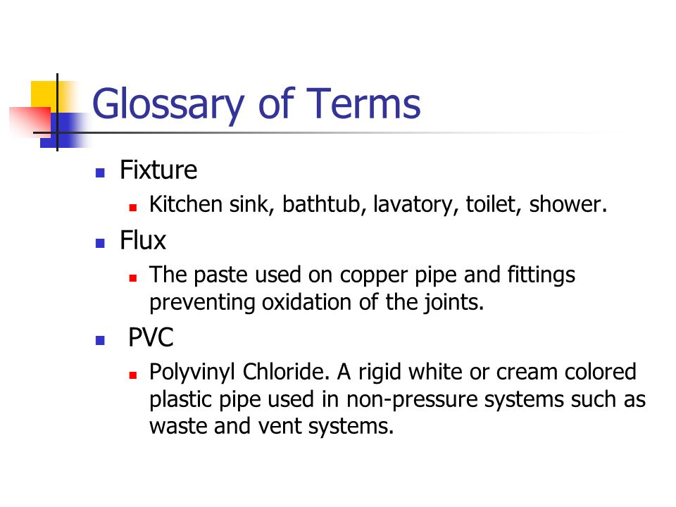 Glossary of Terms Fixture Flux PVC