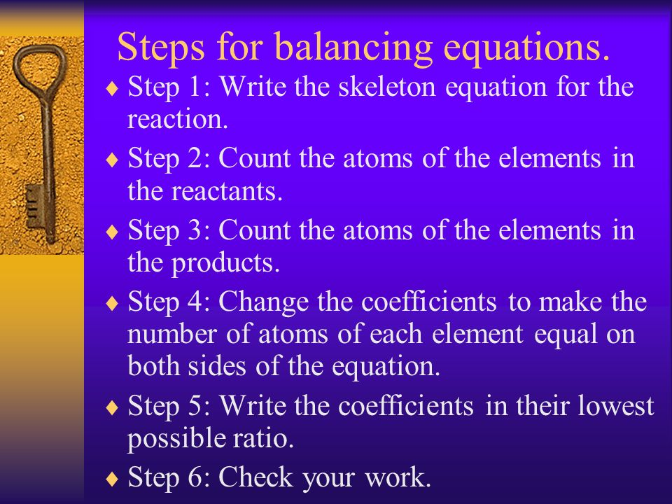 Steps for balancing equations.