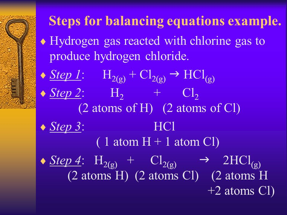 Steps for balancing equations example.